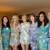 bridal party photo in kimono robes
