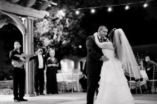 bride and groom first dance black white photo