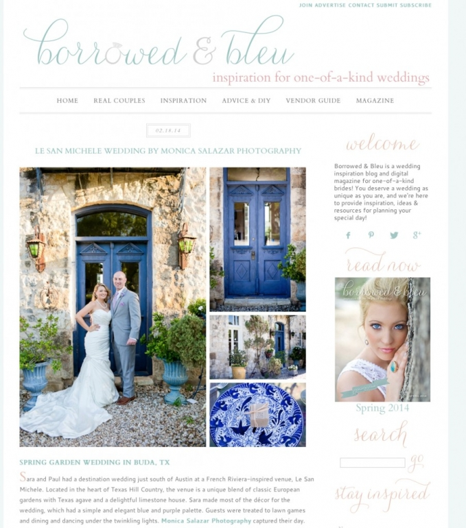 Pretty blue door at Le San Michele wedding in Austin Texas published on Borrowed & Blue