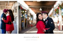 Beautiful engagement photo at the Fort Worth Stockyards with the groom in his military uniform from the US Army