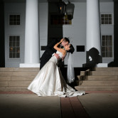 Bride and groom portrait at Arlington Hall in Dallas during their wedding reception.