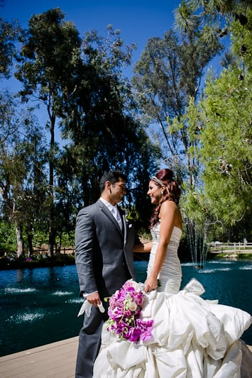 first look wedding photos on a dock at lake oak meadows in temecula california