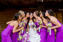 Bride and bridesmaids group photo at their wedding in Temecula California