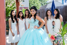 quinceanera and friends pose for a group photo by fort worth quinceanera photography