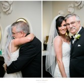 bride and her dad before wedding ceremony at piazza on the green mckinney