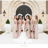 bride and bridesmaids photos outside of the piazza on the green in mckinney texas