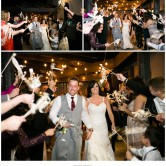 ribbon wand wedding exit and sparklers at piazza on the green wedding venue by dallas and mckinney wedding photographers