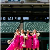 bridemaids pose at baseball wedding at texas rangers