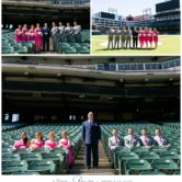 texas rangers wedding with bridal party posing for group photos