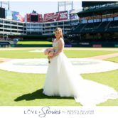 bridal photos on the home plate mound at texas rangers baseball ballpark wedding at globe life park stadium
