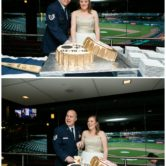 bottle cap shape wedding cakes with ball and chain logo at dallas fort worth wedding