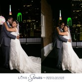 Bride and groom on the rooftop at Room on Main in downtown Dallas, TX