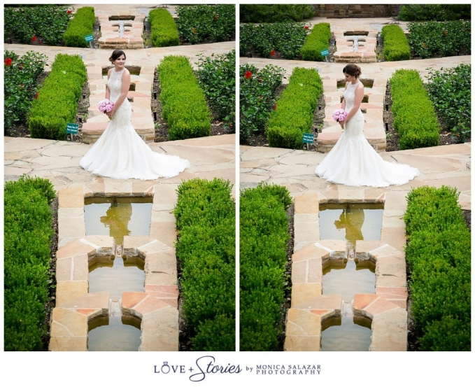 Elegant Bridal Portrait Poses In The Rose Garden At The Fort Worth Botanic  Gardens.