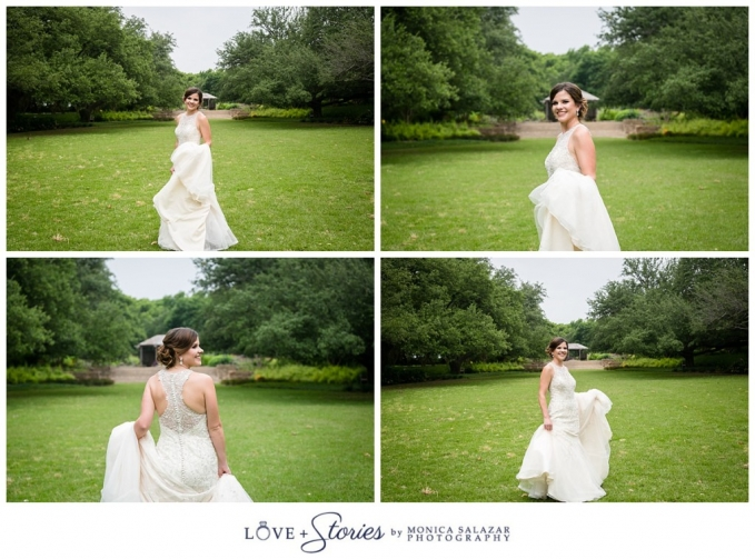 wedding dress for bridal portraits at the fort worth botanic gardens