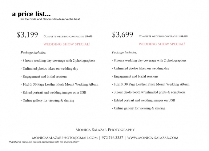 Wedding photography packages in Dallas, Fort Worth TX.