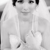 black and white bridal portrait session photo at hidden waters wedding venue in waxahachie