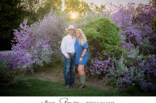 Fort Worth Stockyards Engagement photos with cactus and purple flowers