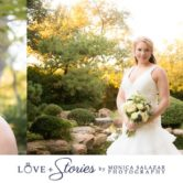 Bridal portraits with lake in background and sunset at the horizon.