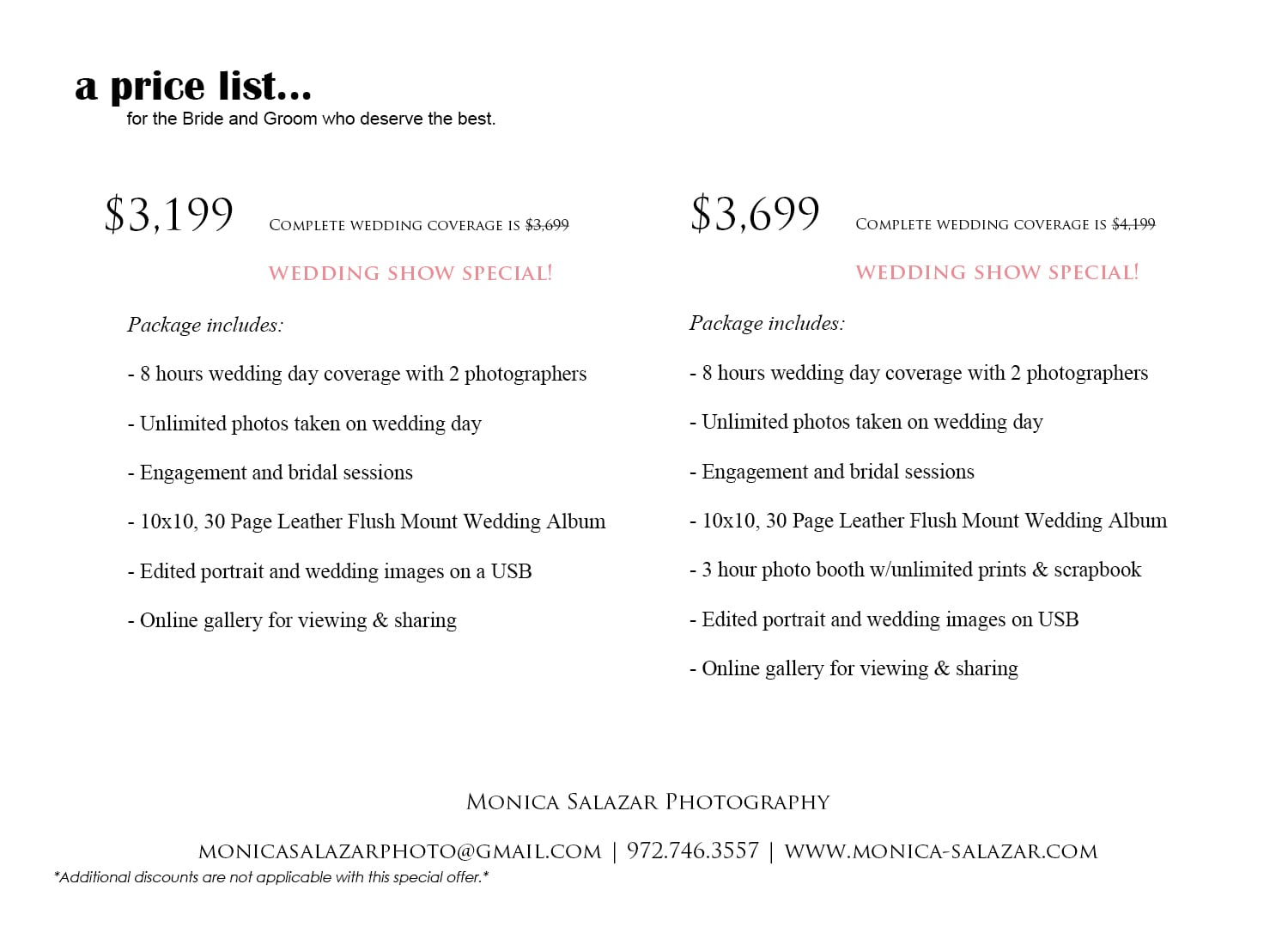 Wedding Photography Special Offers Dallas Wedding Photographer