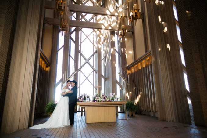 Bride and groom portrait at Marty Leonard Chapel in Fort Worth, TX.