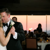 Dallas wedding with sunset in background at Park City Club
