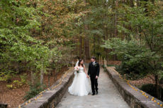 Destination wedding in Hot Springs Arkansas at the St Anthony Chapel in the Garvan Gardens and Country Club.