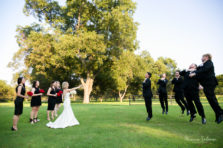Star Wars inspired pose with bride, bridesmaids, groom and groomsmen at wedding at The Orchard in Azle TX by Fort Worth wedding photographers Monica Salazar photography.