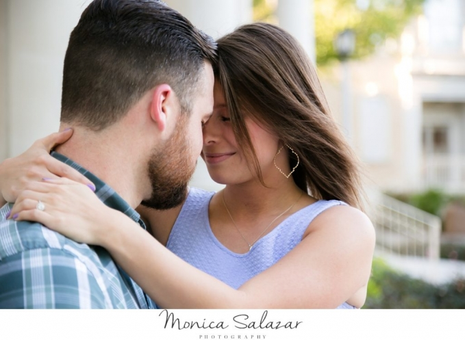 Fun and romantic Fort Worth engagement session photos at TCU and Sundance Square by Fort Worth wedding photographer Monica Salazar.