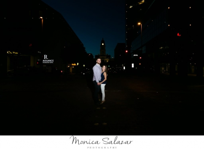 night time engagement photos in sudance square fort worth texas