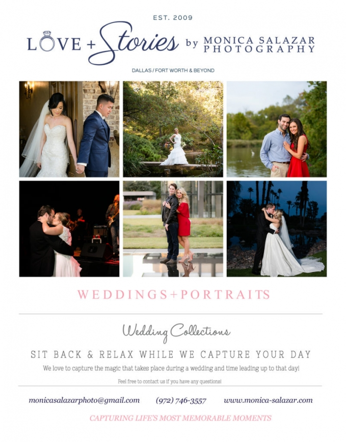 Dallas Wedding Photographer Pricing Monica Salazar Photography Investment 2017 Front 5x7 blog