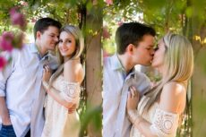 Romantic engagement photos in the garden in Dallas, TX.