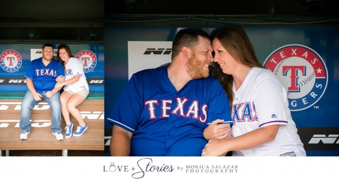 Engagement session photos at Texas Rangers Ballpark Globelife Park by Dallas Fort Worth wedding photographers.