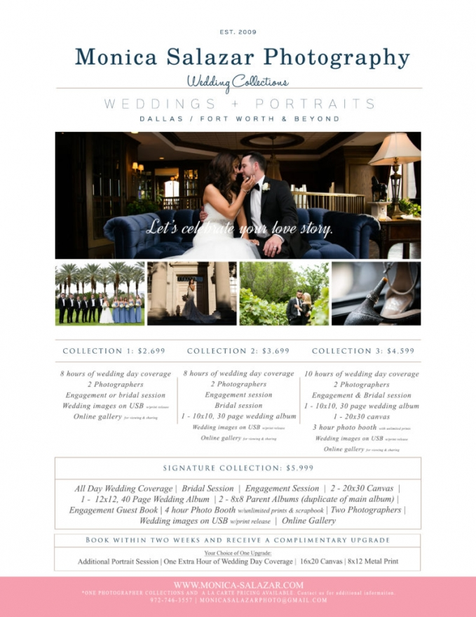 Wedding photography pricing information for Dallas, Fort Worth, Austin Texas weddings by Monica Salazar.
